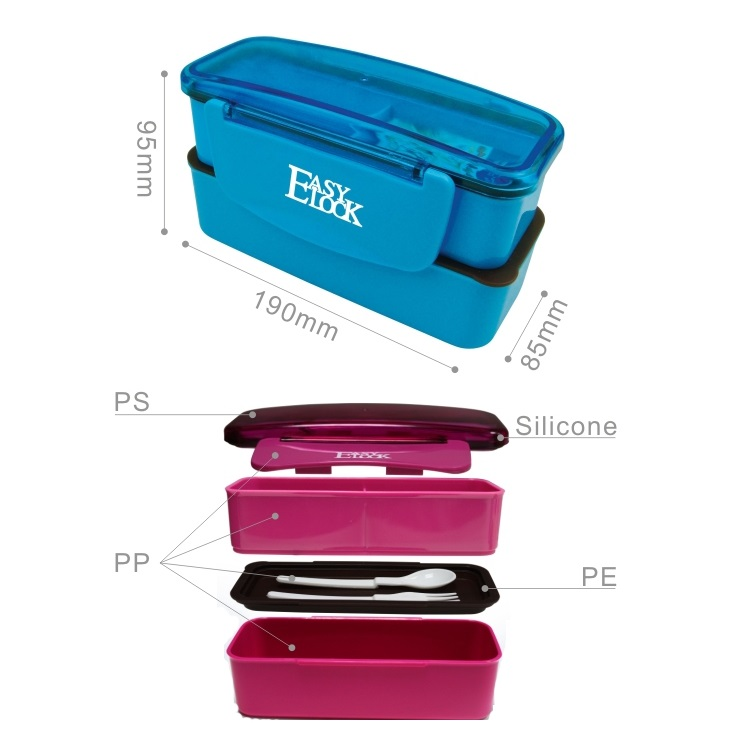 Easylock Airtight Lockable Microwave PP Plastic Dividers Cheap Kids Lunch Box with Fork